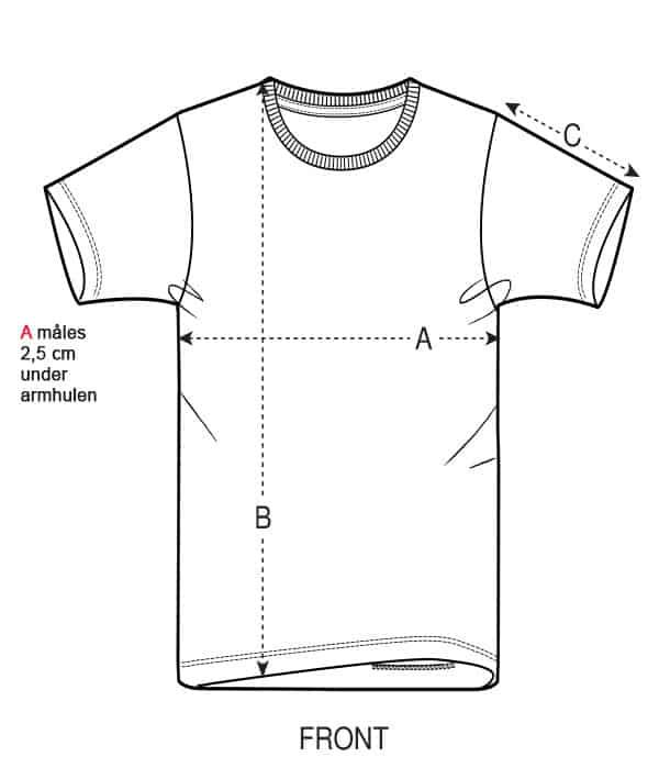 Størrelsesguide børne t-shirts